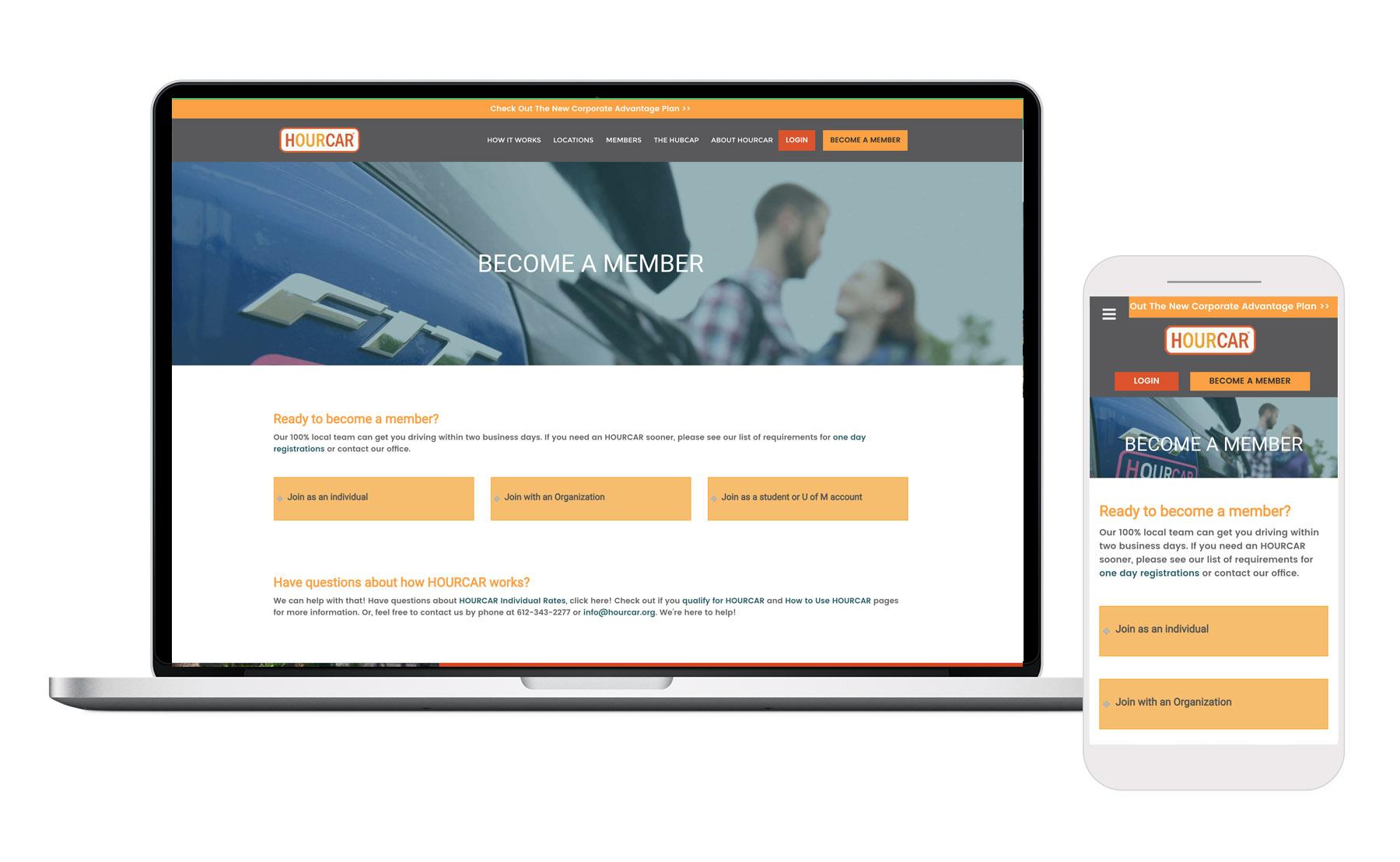 Hourcar registration page on desktop and mobile